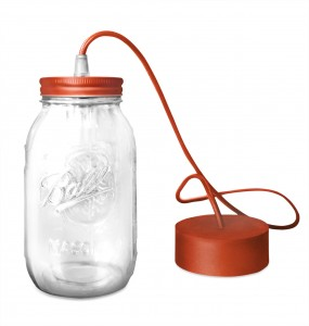 lampe a suspendre ball mason jar par fenel & arno rouge