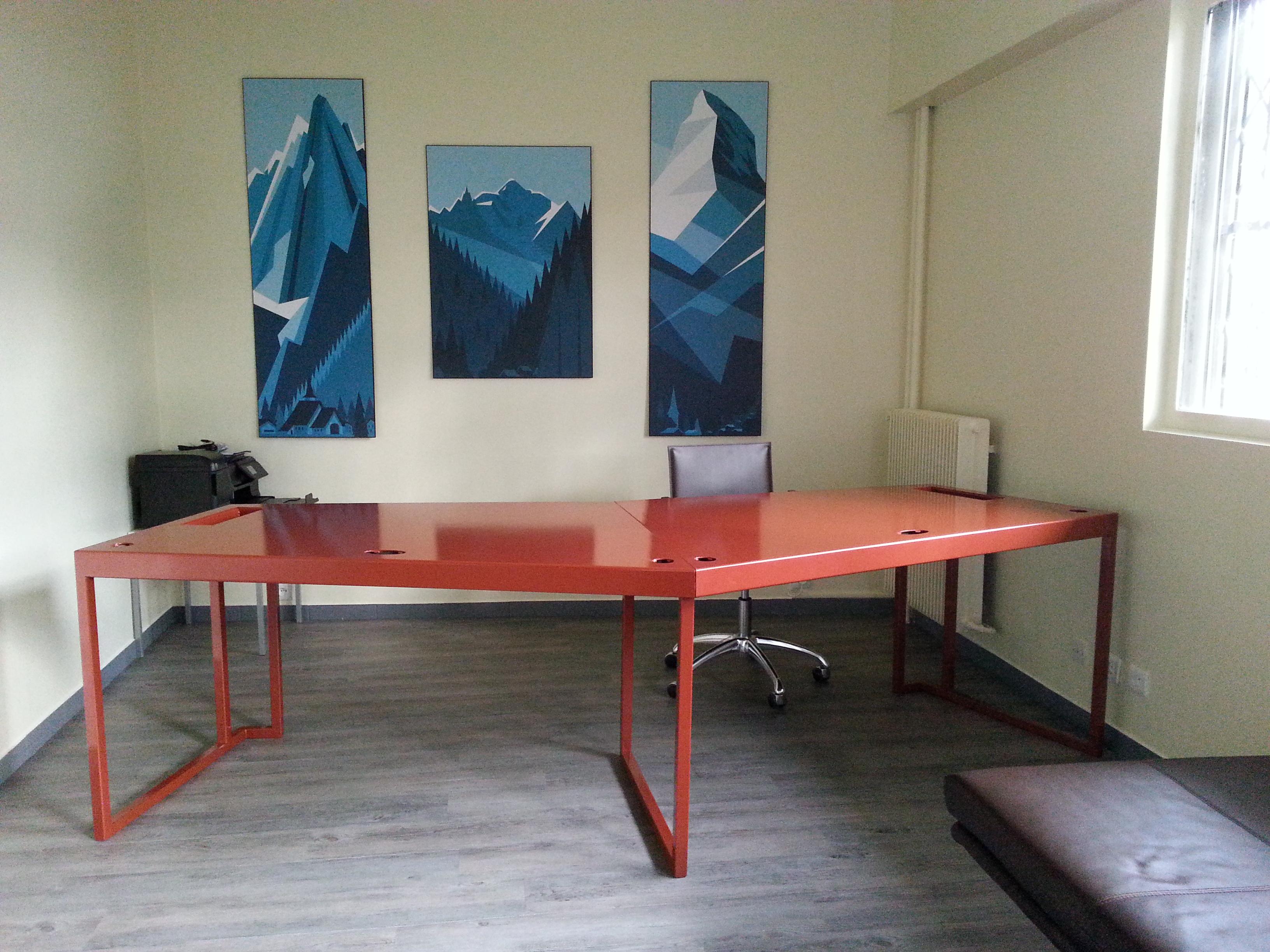 fenel arno steel et design bureau sur mesure pour 2 personnes. Black Bedroom Furniture Sets. Home Design Ideas